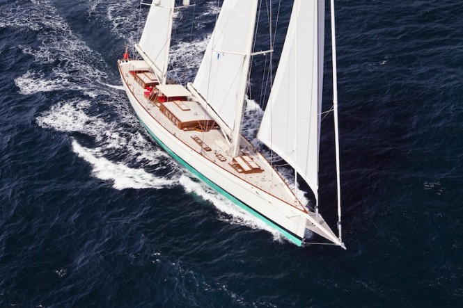 55m Sailing Yacht Kamaxitha - Photo by Cory Silken