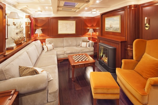 Yacht Kamaxitha - lower salon and dining area - Photo by Cory Silken