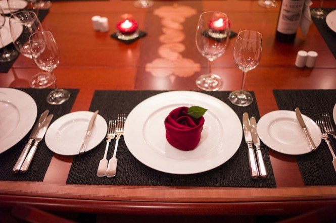 Dining in style aboard luxury superyacht Kamaxitha - Photo by Cory Silken