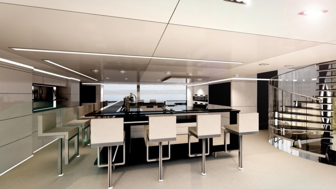 62m H2 Mega Yacht Concept - bar and show cooking
