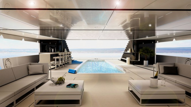 62m H2 Motor Yacht Concept - lower deck beach club