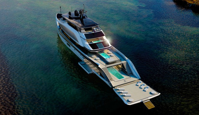 62m H2 Superyacht Design - aft view