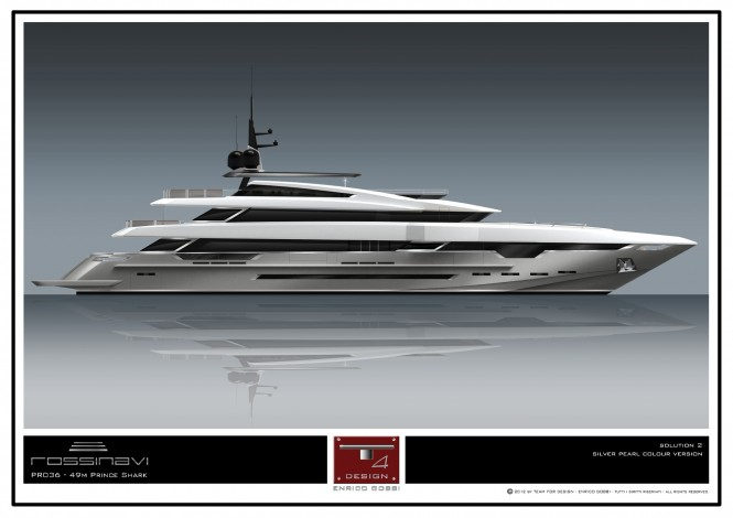 A sister ship to hull FR027 yacht Param Jamuna IV - the 49m motor yacht PRINCE SHARK (hull FR028) by Rossinavi
