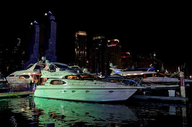 Yachts At Night Dubai Internati...