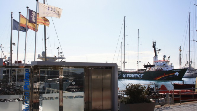 Greenpeace's 50m expedition yacht Arctic Sunrise at Marina Palma Cuarentena