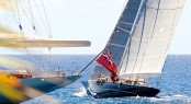 J Class yacht Hanuman practicing in the popular Caribbean yacht charter destination - St. Barths - Photo by Michael Kurtz