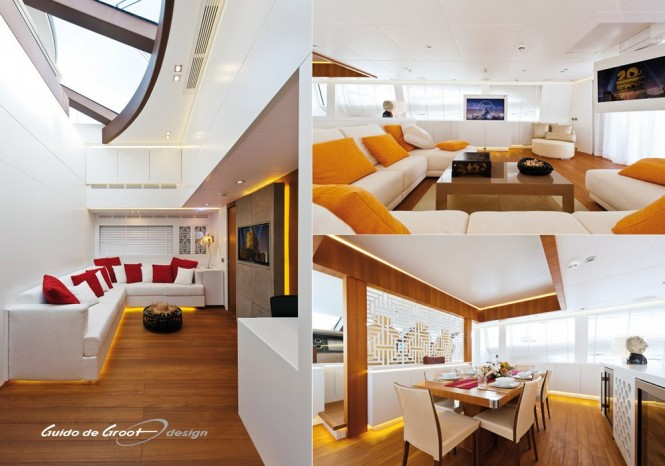 Lovely interior design by Guido de Groot aboard Diamond Yacht
