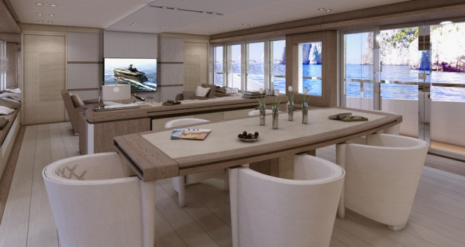 Luxury yacht Columbus Sport 130 Hybrid - Main Saloon