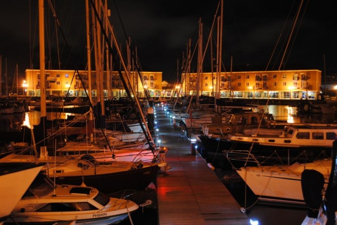 New lighting illuminates Milford Marina at night (photo credit - Mark West)