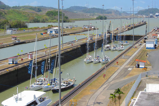 Oyster yachts navigating through the Panama Canal into the Pacific Ocean