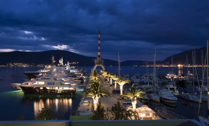 Porto Montenegro Superyacht Marina by night