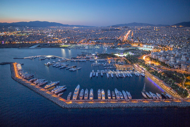 VIP Mega-Yacht Destination Flisvos Marina by night