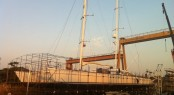 Yacht Solutions' shrink wrap scaffolding over charter yacht Douce France - Day 1