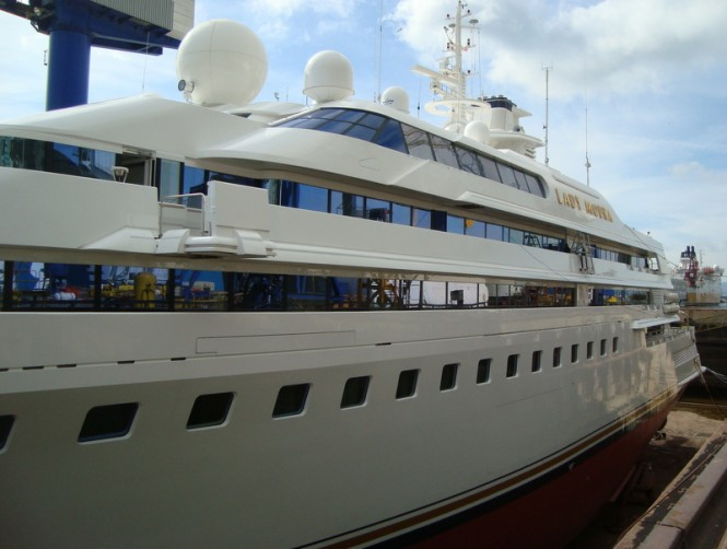 105m Blohm & Voss mega yacht Lady Moura docked in Monaco Harbour