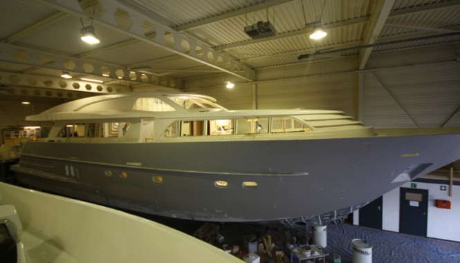 26m Continental III Yacht under construction at Wim van der Valk