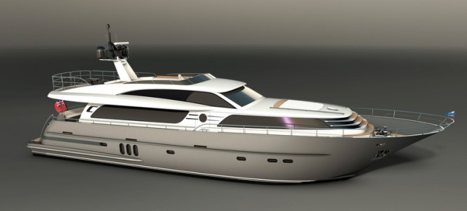 26m motor yacht Continental III in stardust silver
