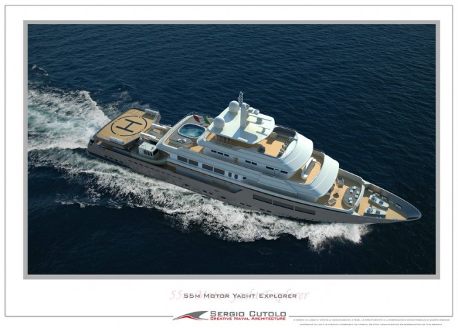 57m Explorer superyacht design - upview