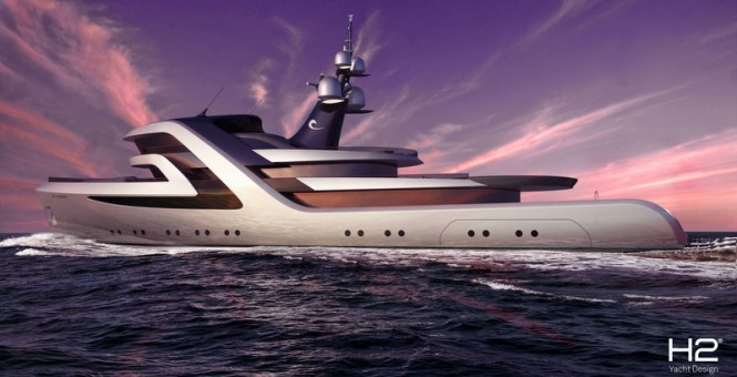 59m H2 luxury yacht conversion concept for ICON Yachts Design Challenge
