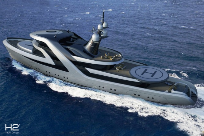 59m superyacht conversion design by H2 Yacht Design