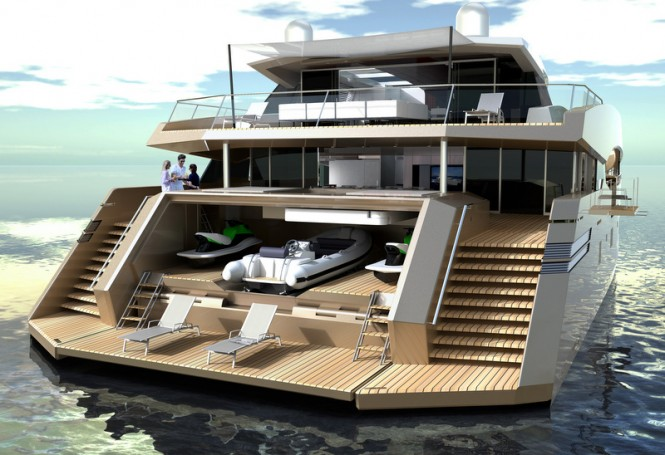 90 Sunreef Power superyacht - rear view
