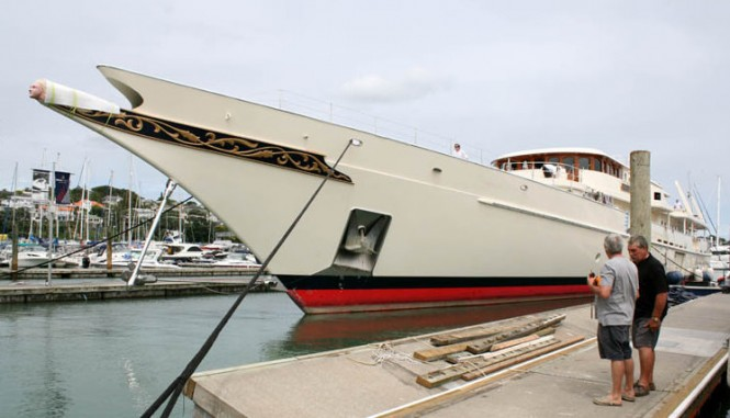 90m mega yacht Athena after refit at Orams Marine Services