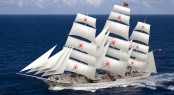 Clipper yacht Orchid sailing rendering, designed by Dykstra Naval Architects - Image credit Dykstra Naval Architects
