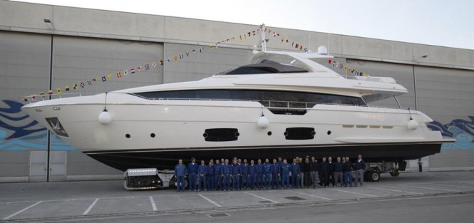 Ferretti 960 Yacht at launch - Image courtesy of Ferretti Yachts