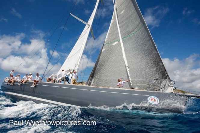 HM King Harald of Norway skippers the RP78, Whisper to victory in The Yachting World Round Antigua Race - Credit- Paul Wyeth:pwpictures.com