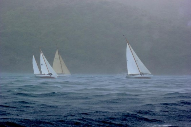 Pewter grey skies and squalls made conditions difficult during the race to decide who will compete against Mariella for  The Inn Challenge Trophy taking place today in Antigua. Left to right: Vagabundo II, Dione and The Blue Peter Credit: Louay Habib/The Inn at English Harbour