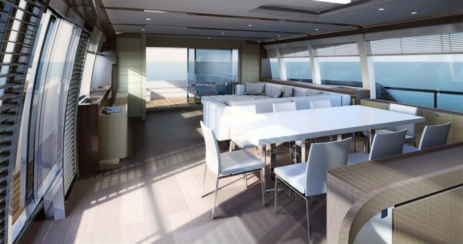 Interior of the new Ferretti 960 yacht