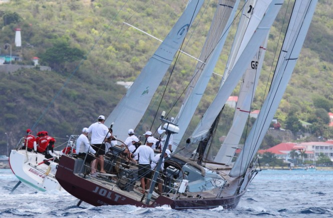 Jolt sailing in the Spinnaker 1 class at Les Voiles de Saint Barth on the first day of racing