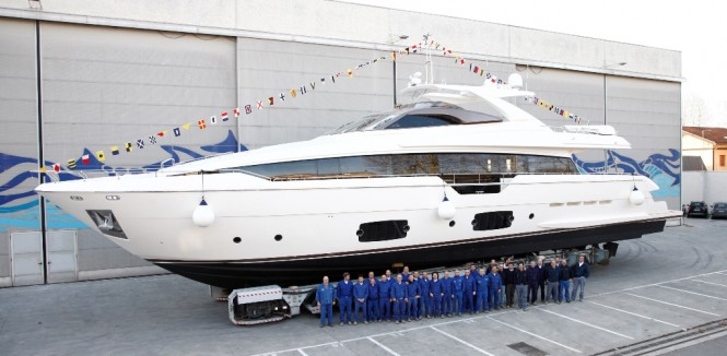 Luxury motor yacht Ferretti 960 at launch