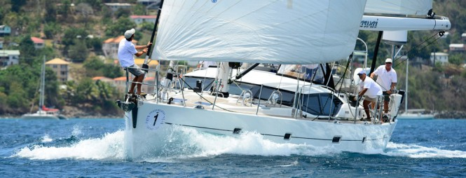 Luxury yachts by Oyster competing in the 2013 Oyster Regatta Grenada - Photo by Mike Jones