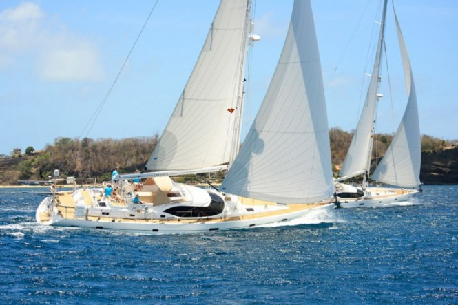 Luxury yachts by Oyster competing in the Oyster Caribbean Regatta 2013