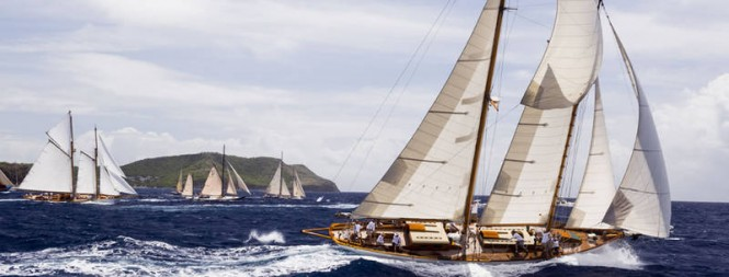 Luxury yachts competing in the 26th Antigua Classic Yacht Regatta