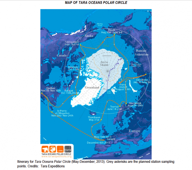 Map of Tara Oceans Polar Circle