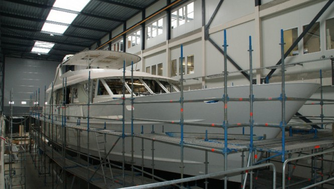 Mulder 98 Flybridge superyacht YN1391 under construction at new Mulder shipyard