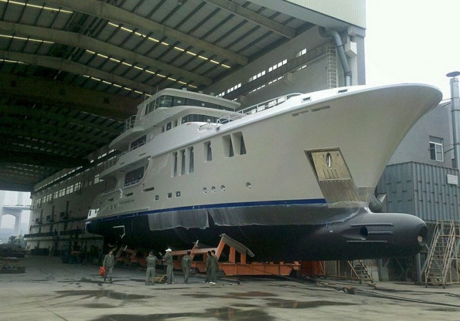 Nordhavn 120 Yacht Aurora being taken out of the shed for test tank