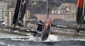 Oracle Team USA and Emirates Team New Zealand in action at ACWS Naples 2012 &Acirc;&copy; FrancescoFerri/Seaway/Nespresso