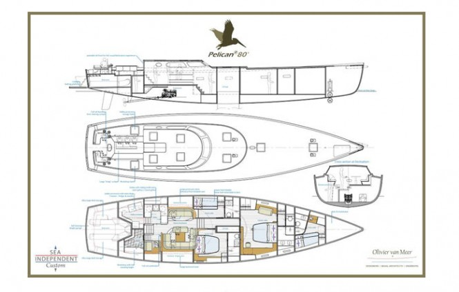 Sailing yacht Pelican 80 concept - Layout