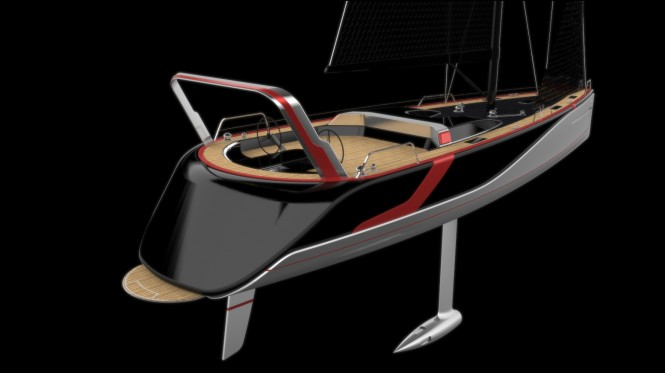 Sailing yacht Poseidon concept - aft view