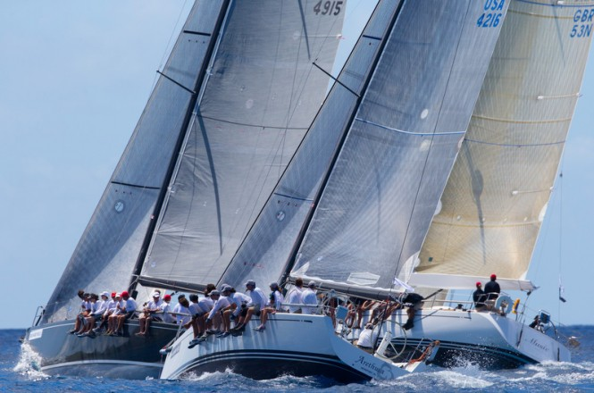 Spinnaker 1 Class Defiance, Arethusa and Music racing at Les Voiles de Saint Barth© Les Voiles de Saint Barth / Christophe Jouany