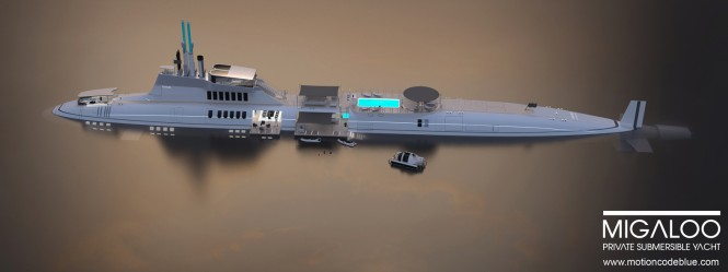 115m private submersible mega yacht MIGALOO concept by motion code: blue