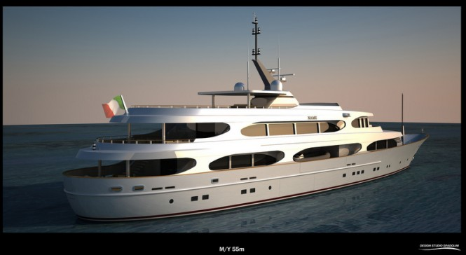 55m Spadolini Yacht Project - aft view