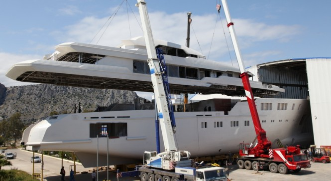 63m mega yacht Project 601 under construction at Sunrise Yachts
