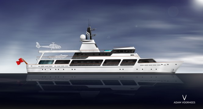 Adam Voorhees designed conversion proposal for 65m mega yacht Van Triumph