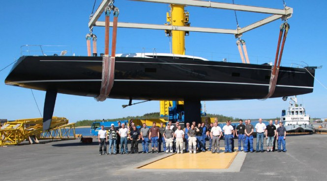 Baltic 107 superyacht Inukshuk at launch