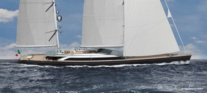 C.2227 yacht by Perini Navi sailing - rendering