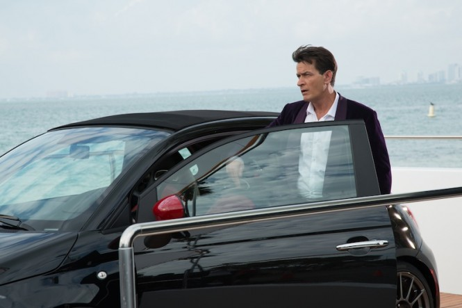 Charlie Sheen and Fiat 500 aboard charter yacht Arianna