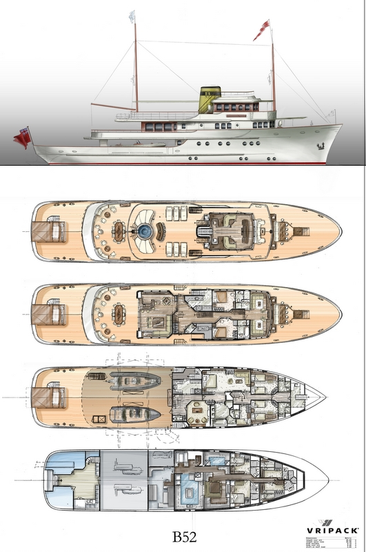 Classic yacht B52 - General Arrangement